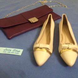 Giày búp bê Zara Basic nơ mảnh