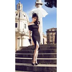 Đầm đen vai ngang thiết kế xẻ đùi sang trọng như Ngọc Trinh M018
