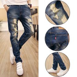 Quần jeans nam ống côn skinny rách đùi nam tính