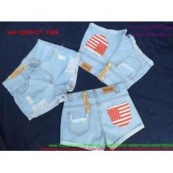 Quần short jean nữ rách sắn lai túi lá cờ sành điệu QSO127