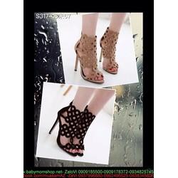 Giày cao gót nữ dạng boot hở mũi thiết kế khoét ô tròn GCN267