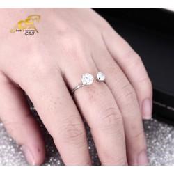 Nhẫn inox nữ hở đính xoàn cách điệu đẹp giá rẻ