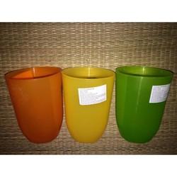 Combo 3 ly nhựa trơn màu cam, màu vàng, màu xanh lá.