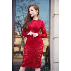 Đầm ren đỏ dự tiệc đẹp thiết kế ôm sát body cực tôn dáng M045