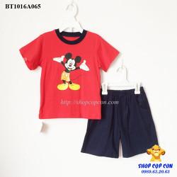 Bộ short thun hình Mickey màu đỏ size 1-8