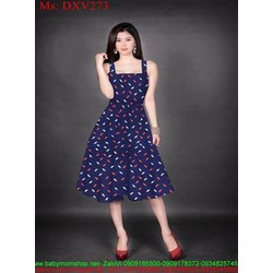 Đầm xòe 2 dây cánh hoa trắng đỏ nổi bật xinh đẹp DXV273