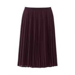 Chân váy Chiffon xếp ly dáng dài màu 19 Wine hãng Uniqlo Nhật