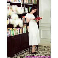 Đầm xòe tay con màu trắng trẻ trung thiết kế đơn giản DXV249