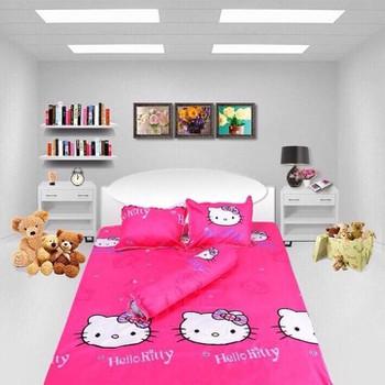Bộ Drap coton cao cấp Kitty hồng đậm