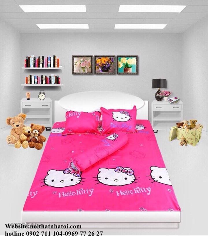 Bộ Drap coton cao cấp Kitty hồng đậm 1