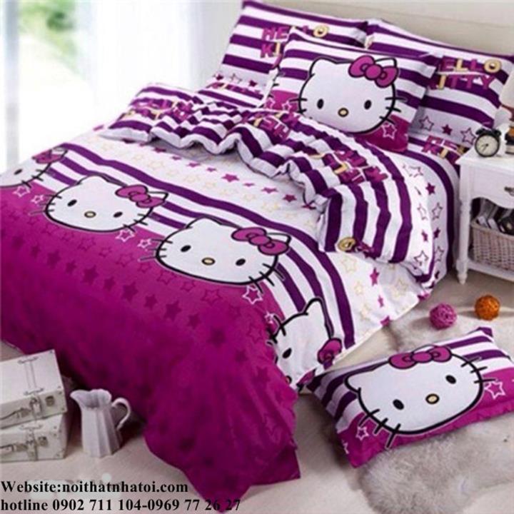 Bộ drap coton cao cấp kitty sao sọc 1