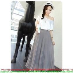 Chân váy maxi dập ly sành điệu from chuẩn màu sắc y hình CVX1