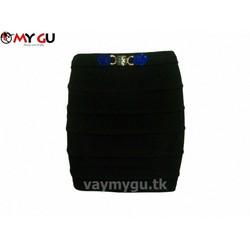 Chân váy bút chì xếp ly MY GU V29 - Màu đen