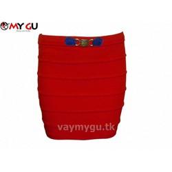 Chân váy bút chì xếp ly MY GU V29 - Màu đỏ
