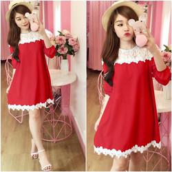 Đầm suông đỏ phối ren giá khuyến mãi H2350