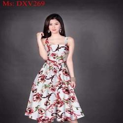 Đầm xòe 2 dây họa tiết hoa loang màu nổi bật DXV269