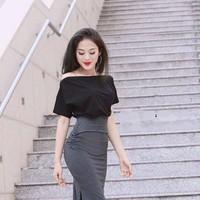 Đầm body bẹt vai nhúng hông