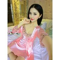 Set bộ váy ngủ ren kèm áo khoác choàng xinh xắn gợi cảm-DN384