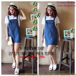 Váy yếm jean phối túi đơn giản sành điệu QYB33