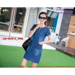Đầm jean công sở thêu túi caro phong cách sành điệu DJE12