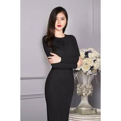 Đầm Body Kim Tuyến Tay Dài Kết Hoa Hồng X00022