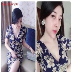 Đầm body dự tiệc cổ V họa tiết hoa xinh đẹp phối xẻ đùi  DOV894