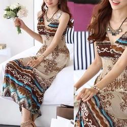 Đầm maxi họa tiết thun lụa