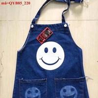 Váy yếm jean 2 túi mặt cười xinh xắn sành điệu QYB85