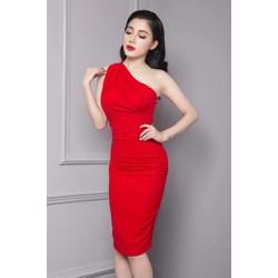 Đầm đỏ lệch vai dự tiệc thiết kế ôm body tôn dáng M00037