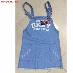 Váy yếm jean DKNY phối túi rách nhẹ dễ thương QYB83