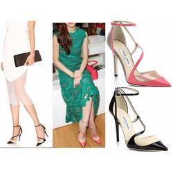 Giày cao gót valen phối màu mũi nhọn màu hồng