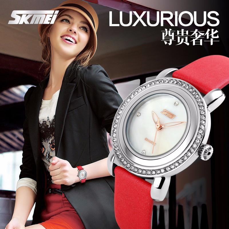 Đồng hồ nữ dây da viền đá Skmei-9093 mã DHN9093X 9
