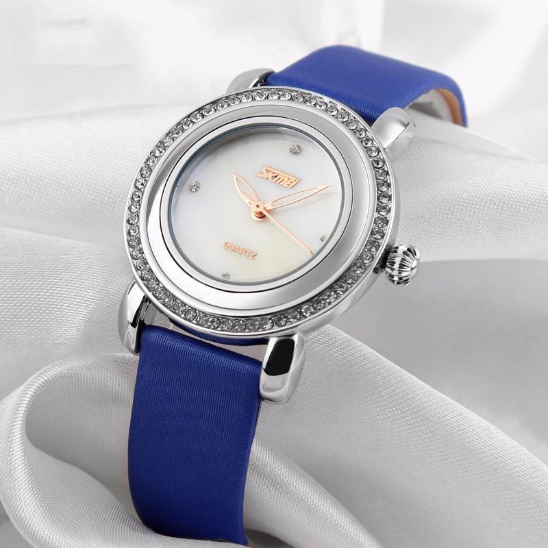 Đồng hồ nữ dây da viền đá Skmei-9093 mã DHN9093X 2