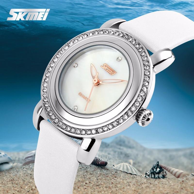 Đồng hồ nữ dây da viền đá Skmei-9093 mã DHN9093X 8
