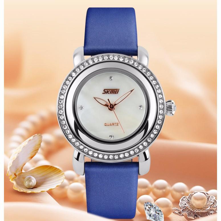 Đồng hồ nữ dây da viền đá Skmei-9093 mã DHN9093X 15