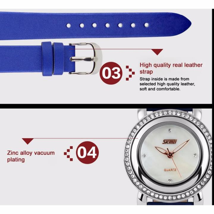 Đồng hồ nữ dây da viền đá Skmei-9093 mã DHN9093X 13