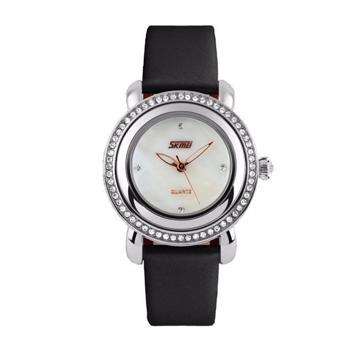 Đồng hồ nữ dây da viền đá Skmei-9093 mã DHN9093X 6