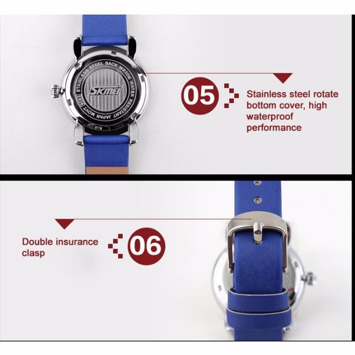 Đồng hồ nữ dây da viền đá Skmei-9093 mã DHN9093X 3