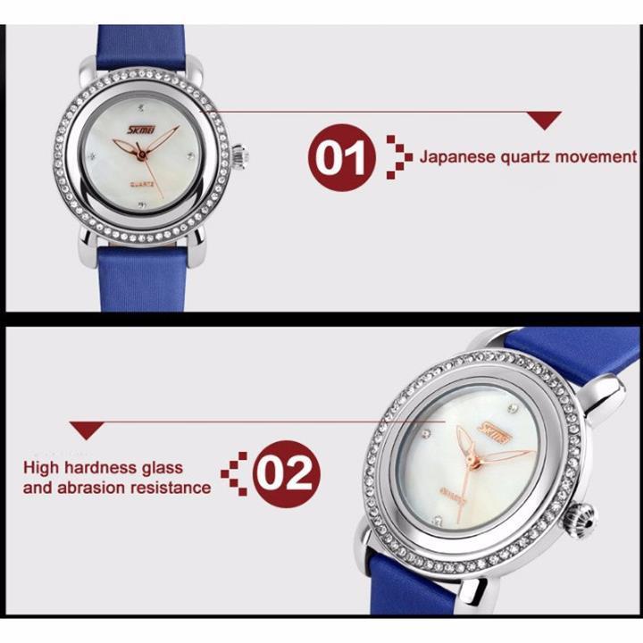 Đồng hồ nữ dây da viền đá Skmei-9093 mã DHN9093X 12