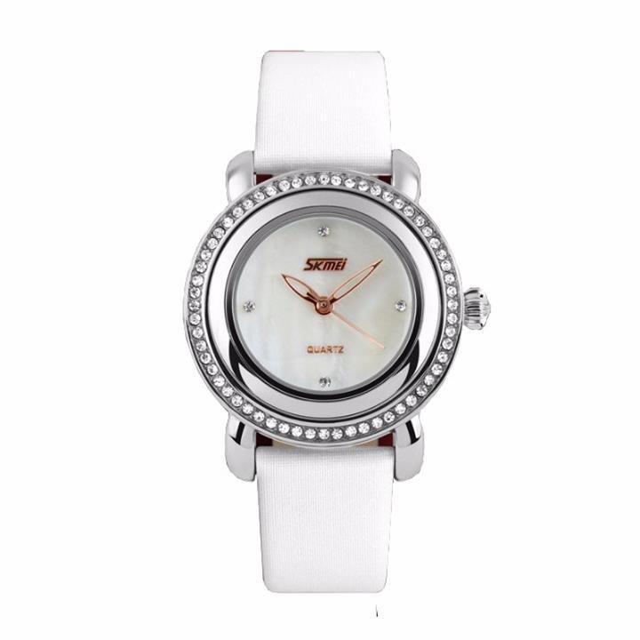 Đồng hồ nữ dây da viền đá Skmei-9093 mã DHN9093X 5