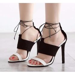 Giày cao gót 2 quai ngang phối màu cột dây