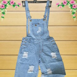 Quần Yếm Jeans Rách Dài