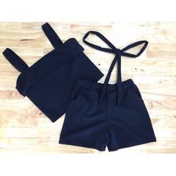 Set áo nơ quần short dây lưng