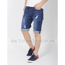Quần short jean nam rách xanh đậm