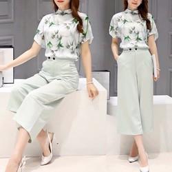 HÀNG NHẬP CAO CẤP LOẠI I - Set bộ áo voan cổ Hoa trắng + Quần baggy
