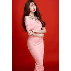 Đầm hồng ôm body dễ thương thiết kế nơ to ngang vai M305