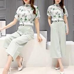 HÀNG CAO CẤP LOẠI I -Set bộ áo voan cổ Hoa trắng + Quần baggy