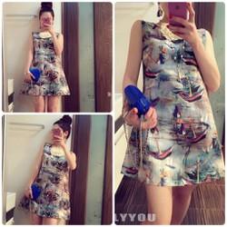 Đầm suông thời trang in họa tiết cá tính, phong cách trẻ trung-D2714