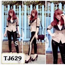 Set nguyên bộ áo vest quần dài da TJ629