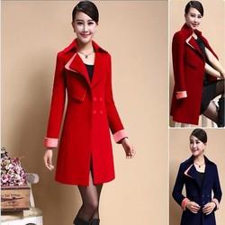 Áo khoác dạ thu đông form dài phối màu phong cách sành điệu AKMT183